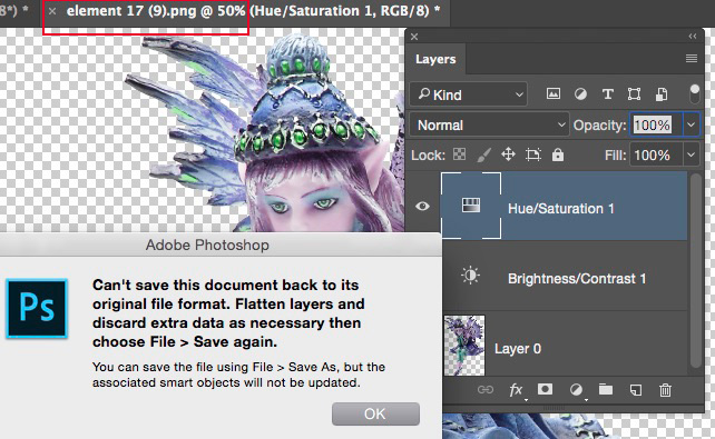 PNG file being edited with layers