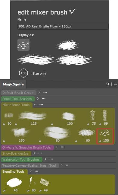 MagicSquire's Interface for brushes and edit mode