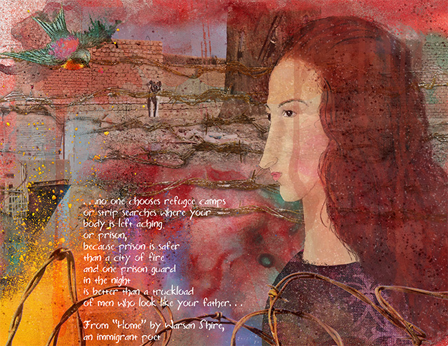"""The Refugee"" an art journal page for Democracy series"